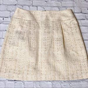 Holiday skirt gold and cream lined
